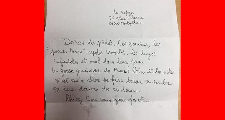 Une lettre anonyme pour l'Association Le Refuge